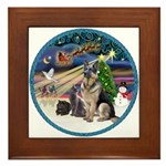 XmasMagic-GShep-2 Cats Framed Tile