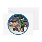 XmasMagic-GShep-2 Cats Greeting Cards (Pk of 20)
