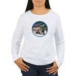 XmasMagic-GShep-2 Cats Women's Long Sleeve T-Shirt