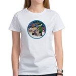 XmasMagic-GShep-2 Cats Women's T-Shirt