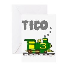 Tico 3 Green & Yellow Train Greeting Cards (Pk of
