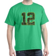 12 Aaron Rodgers Packer Marbl Green T-Shirt