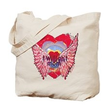 Twilight Mom Crimson Grunge Winged Crest Tote Bag