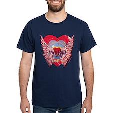 Twilight Mom Crimson Grunge Winged Crest T-Shirt