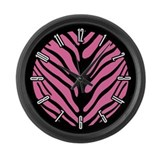 Pink Zebra Stripe Motif Large Wall Clock