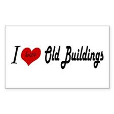 I Luv Old Buildings Rectangle Decal