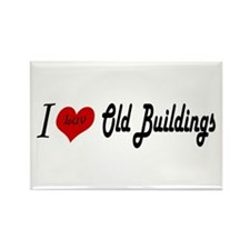 I Luv Old Buildings Rectangle Magnet