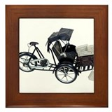 Rickshaw and luggage Framed Tile