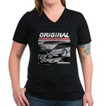 Team Mustang Women's V-Neck Dark T-Shirt