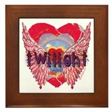 Twilight Mystic Crimson Heart Wings Framed Tile