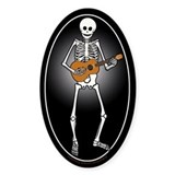 Ukulele Skeleton Oval Decal