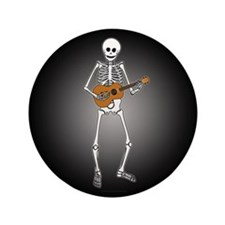 "Ukulele Skeleton 3.5"" Button"