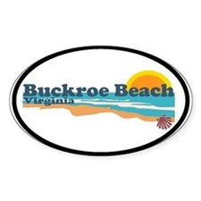 Buckroe Beach VA - Beach Design Oval Decal