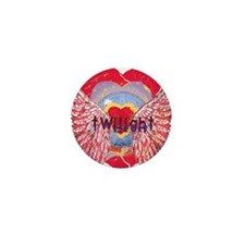 Twilight Mystic Crimson Heart Wings Mini Button