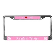 Pink I Love My Airedale Terrier Frame