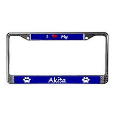 Blue I Love My Akita License Plate Frame