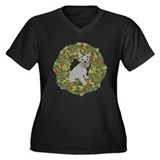Schnauzer Xmas Wreath Women's Plus Size V-Neck Dar