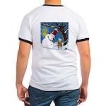 Snowman Unchains Dog Ringer T