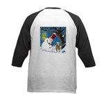 Snowman Unchains Dog Kids Baseball Jersey