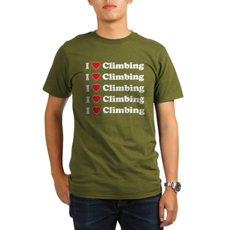 I Love Climbing (A lot) Organic Men's T-Shirt (dar