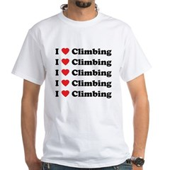 I Love Climbing (A lot) White T-Shirt