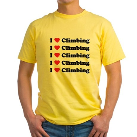 I Love Climbing (A lot) Yellow T-Shirt