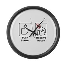 Push Button Receive Bacon Large Wall Clock