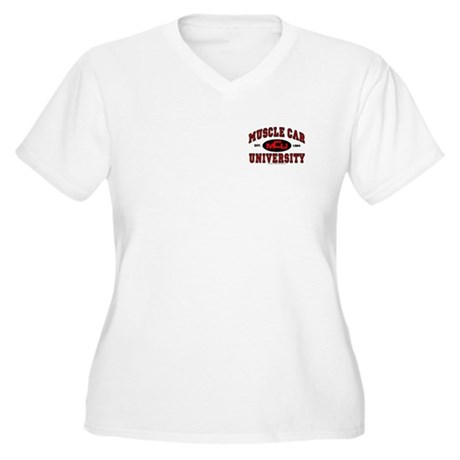 Muscle Car University Women's Plus Size V-Neck Tee