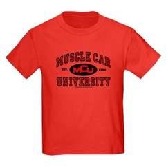 Muscle Car University Kids Dark Colored T-Shirt
