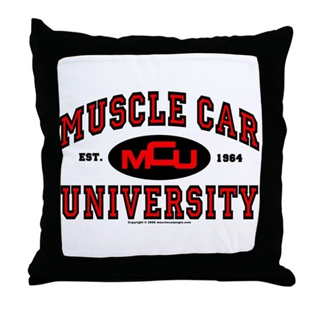 Muscle Car University Throw Pillow