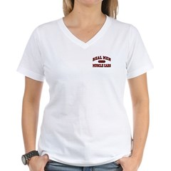 Real Men Drive Muscle Cars Women's V-Neck T-Shirt