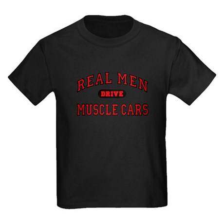 Real Men Drive Muscle Cars Kids Black T-Shirt