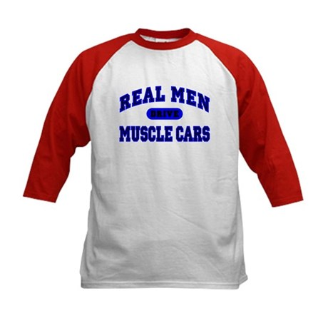 Real Men Drive Muscle Cars II Kids Baseball Jersey