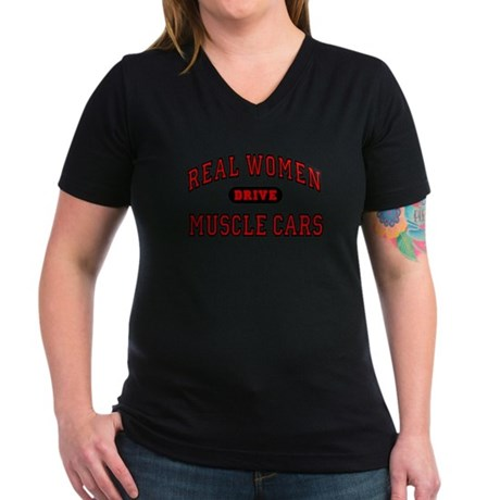 Real Women Drive Muscle Cars Women's V-Neck Grey T