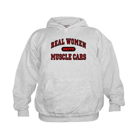 Real Women Drive Muscle Cars Kids Hoodie