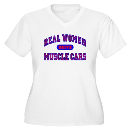 Real Women Drive...II Women's Plus Size V-Neck Tee