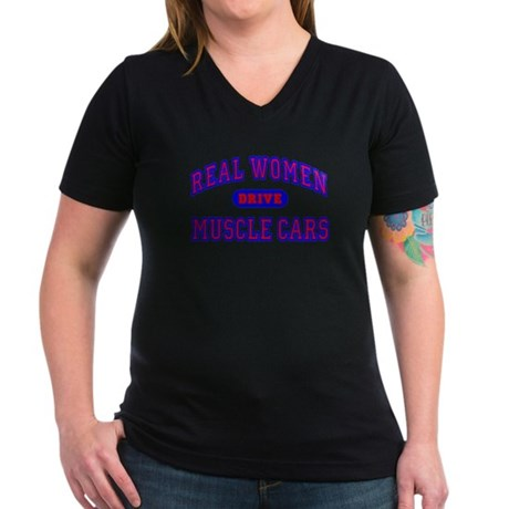 Real Women Drive...II Women's V-Neck Gray T-Shirt