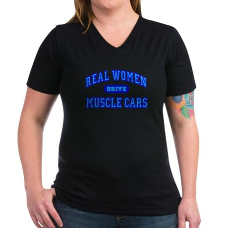 Real Women Drive...III Women's V-Neck Dark T-Shirt
