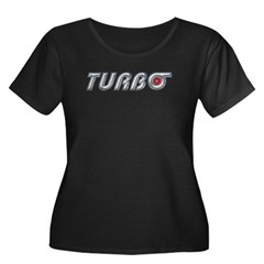 Turbo Women's Plus Size Scoop Neck Dark T-Shirt
