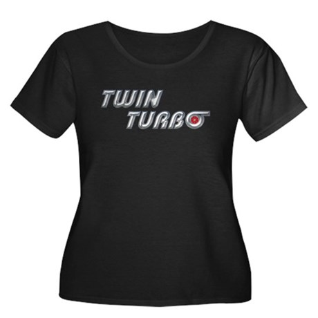 Twin Turbo Women's Plus Size Scoop Neck Black Tee