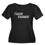 Twin Turbo Women's Plus Size Scoop Neck Black Tee
