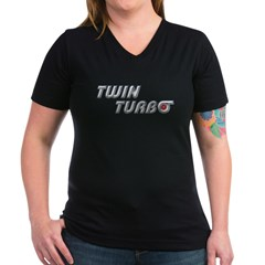 Twin Turbo Women's V-Neck Dark T-Shirt