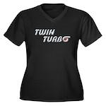 Twin Turbo Women's Plus Size V-Neck Dark T-Shirt