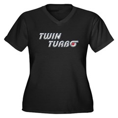 Twin Turbo Women's Plus Size V-Neck Dark T-Shirt