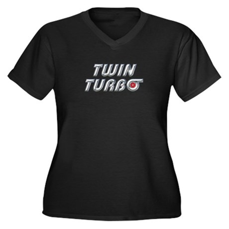 Twin Turbos Women's Plus Size V-Neck Dark T-Shirt