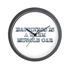 Happiness is a Warm Muscle Car Wall Clock