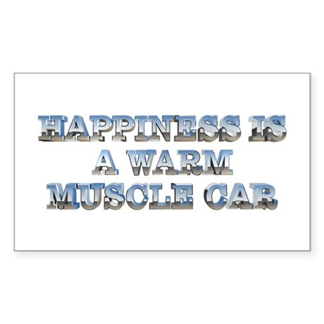Happiness is a Warm Muscle Car Rectangle Sticker
