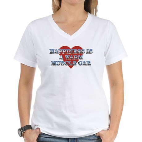 Happiness is a Musclecar II Women's V-Neck T-Shirt