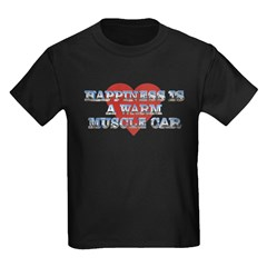 Happiness is a Musclecar II Kids Black T-Shirt