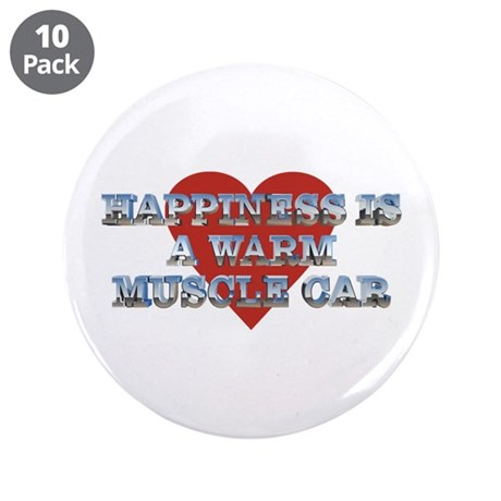 "Happiness is a Musclecar II 3.5"" Button (10 pack)"